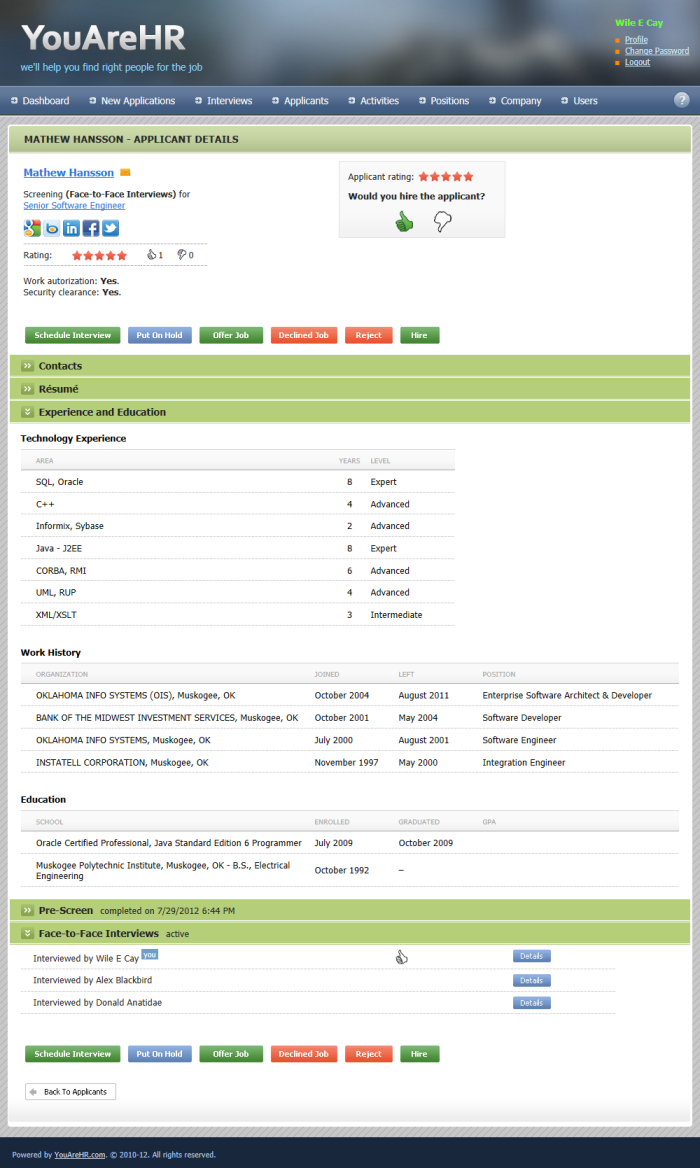 YouAreHR.com shows candidate answers and information along with team member ratings and votes