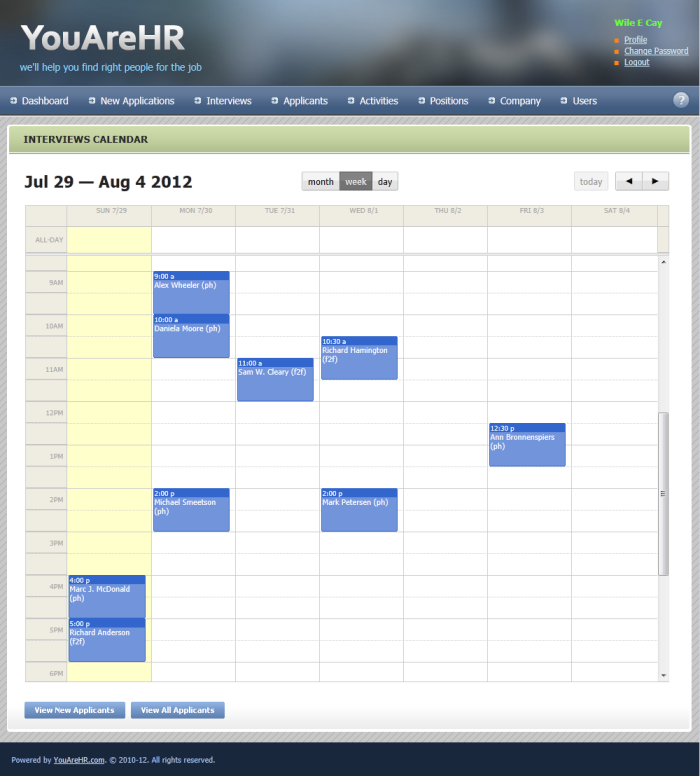 Built-in calendar allows you to see what is on your interview schedule at-a-glance