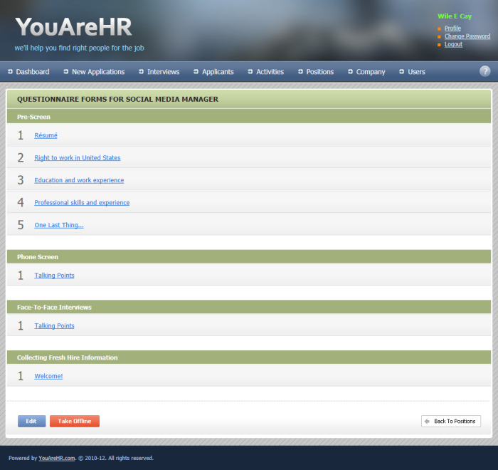 YouAreHR.com allows to edit candidate survey forms and talking points for face-to-face interviews