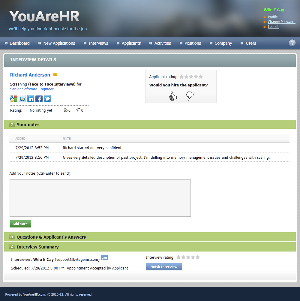 hr management software hiring questionnaire organize interviewers leave notes and rate candidates and interviews